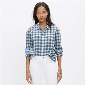 Madewell blue & white check button down